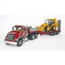 Camion Mack Granite avec plateau et JCB 4CX tracto-pelle 1:16