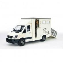 Camion MB Sprinter avec transporteur de chevaux+cheval 1:16