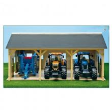 Fermes Hangar en bois pour 3 tracteurs 1:16