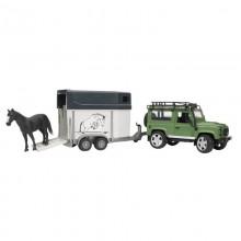 Voiture avec accessoire Land Rover Defender, remorque a chevaux,1 cheval 1:16