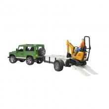 Voiture avec accessoire Land Rover Defender avec remorque, mini pelleteuse et homme de chantier 1:16