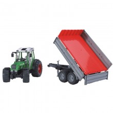 Tracteur avec accessoire Fendt 209 S avec remorque basculante 1:16