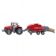 Tracteur avec accessoire Massey Ferguson 8690 avec presse a ballots 1:50