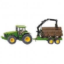Tracteur avec accessoire John Deere avec remorque forestiere 1:50