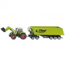 Tracteur avec accessoire Claas avec chargeur frontal, Dolly et benne basculante 1:50