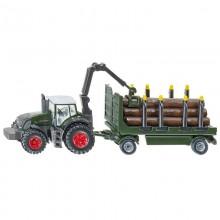 Tracteur avec accessoire Fendt avec remorque forestiere 1:87