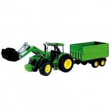 Jouet Tracteur avec accessoire John Deere 7930 avec chargeur et remorque double 1:16