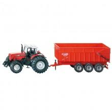 Jouet Tracteur avec accessoire Massey Ferguson  tracteur avec remorque 3 essieux 1:87