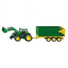 Jouet Tracteur avec accessoire John Deere avec chargeur frontal et remorque 1:87
