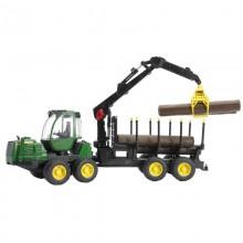 Jouet Tracteur avec accessoire Transporteur John Deere 1210E avec 4 troncs et bras de chargement 1:16