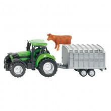 Jouet Tracteur avec accessoire Deutz avec remorque tandem 1:87