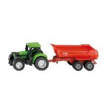 Jouet Tracteur avec accessoire Deutz Agrotron avec remorque basculante semi-ronde