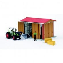 Jouet agricole Bworld Hangar avec figurine, Fendt 209S, chargeur + acc. 1:16