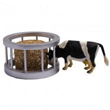 Accessoire Ensemble nourrissage bovins avec balle de paille et vache