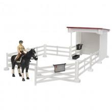 Accessoire Petit enclos a cheval avec cavaliere, cheval, selle et bride 1:16