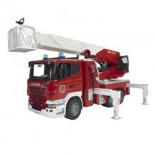 Camion Camion de pompier Scania R-Series avec echelle montante, lance a incendie module son et lumiere 1:16